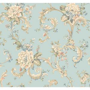 Arlington Aqua Floral Scroll Wallpaper