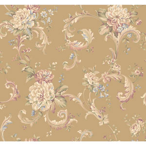 Arlington Gold Floral Scroll Wallpaper