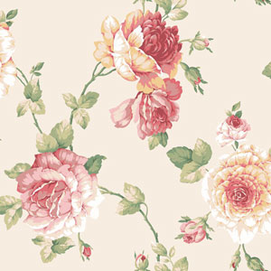 Arlington Cream and Pink Large Rose Vine Wallpaper