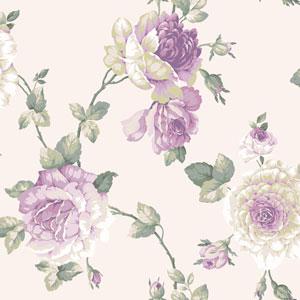Arlington White and Purple Large Rose Vine Wallpaper