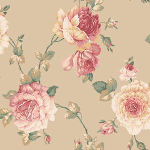 Arlington Tan Large Rose Vine Wallpaper