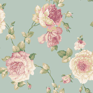 Arlington Aqua Large Rose Vine Wallpaper