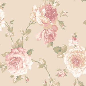 Arlington Pale Gold Large Rose Vine Wallpaper