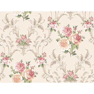 Arlington Cream and Pink Floral Scrolling Wallpaper