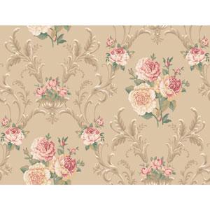 Arlington Tan Floral Scrolling Wallpaper