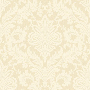 Shimmering Topaz Golden Pearl and Cream Full Damask Wallpaper