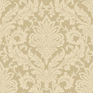 Shimmering Topaz Metallic Gold and Pale Yellow Full Damask Wallpaper