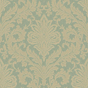 Shimmering Topaz Green and Beige Full Damask Wallpaper