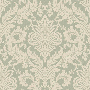 Shimmering Topaz Pale Aqua and Light Taupe Full Damask Wallpaper