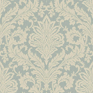 Shimmering Topaz Medium Blue and Off-White Full Damask Wallpaper