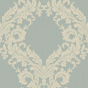 Shimmering Topaz Medium Blue and Off-White Open Frame Wallpaper