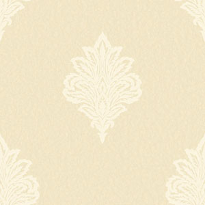 Shimmering Topaz Golden Pearl and Cream Damask Spot Wallpaper