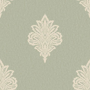 Shimmering Topaz Pale Aqua and Off-White Damask Spot Wallpaper