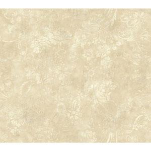 Shimmering Topaz Cream and Beige Textured Rose Wallpaper