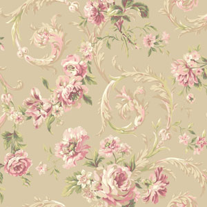 Shimmering Topaz Pale Gold and Pink Rococco Floral Wallpaper