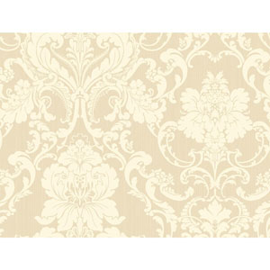 Shimmering Topaz Beige and Cream Formal Lacey Damask Wallpaper