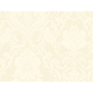 Shimmering Topaz White and Beige Formal Lacey Damask Wallpaper
