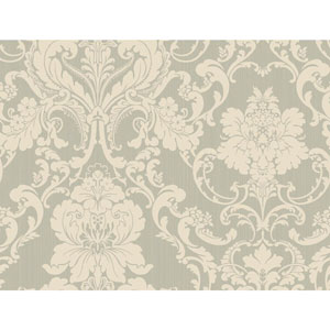 Shimmering Topaz Silver and Cream Formal Lacey Damask Wallpaper