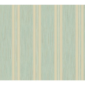 Shimmering Topaz Aqua and Metallic Gold Threaded Stria Strip Wallpaper