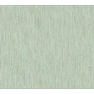 Shimmering Topaz Aqua and Metallic Gold Threaded Stria Wallpaper