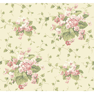Waverly Cottage White, Green and Peaches and Cream Sweet Violets Wallpaper