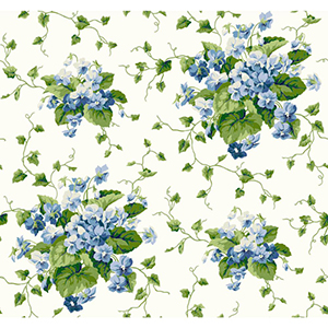 Waverly Cottage Cream, Green and Blue Sweet Violets Wallpaper