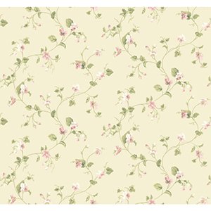 Waverly Cottage Cream, Peaches and Green Sweet Violets Trail Wallpaper