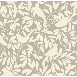 Waverly Cottage Silver Sheen and Chalk White Birdsong Wallpaper
