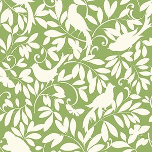 Waverly Cottage Lemon Lime and Chalk White Birdsong Wallpaper