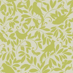Waverly Cottage Silver Sheen and Lemon Lime Birdsong Wallpaper