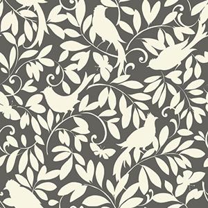 Waverly Cottage Hematite Grey and Cream Birdsong Wallpaper
