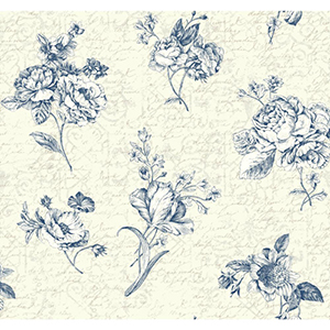 Waverly Cottage Cream, Pearlescent Ivory, Ink Blue and White Picture Perfect Wallpaper