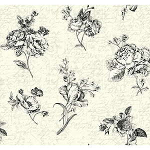 Waverly Cottage Cream, Pearl, White and Black Picture Perfect Wallpaper