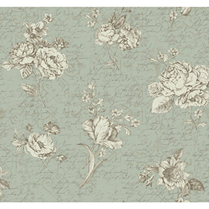 Waverly Cottage Soft Gold, White and Aquamarine Picture Perfect Wallpaper