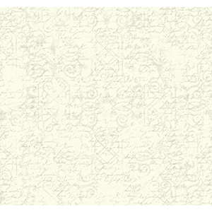 Waverly Cottage Cream and Pearlescent Ivory Pen Pal Wallpaper