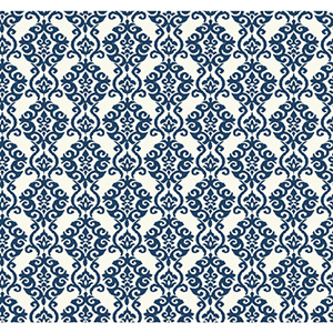 Waverly Cottage Pristine White and Prussian Blue Luminary Wallpaper