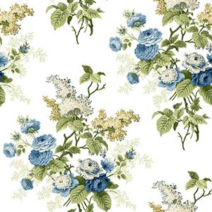 Waverly Cottage Blue Green and Butterscotch Emmas Garden Wallpaper