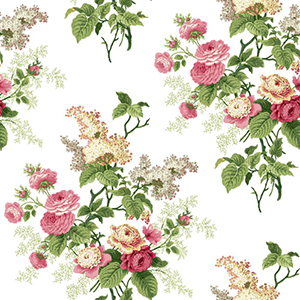 Waverly Cottage Pink Green and Butterscotch Emmas Garden Wallpaper