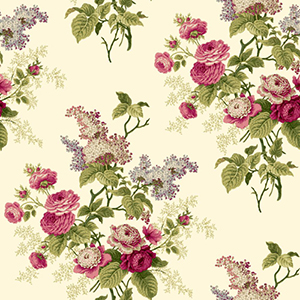 Waverly Cottage Light Beige Magenta Pink and Green Emmas Garden Wallpaper