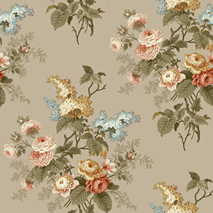 Waverly Cottage Taupe Peach and Olive Green Emmas Garden Wallpaper