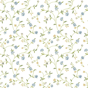 Waverly Cottage Light Blue, Green, Beige, Butterscotch Bellisima Vine Wallpaper