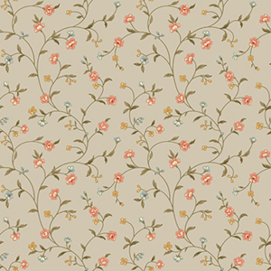 Waverly Cottage Icy Blue, Peaches, Brown and Butterscotch Bellisima Vine Wallpaper