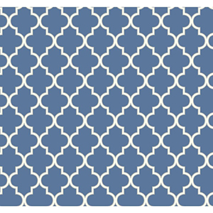 Waverly Cottage Azure Blue, White and Sterling Silver Buzzing Around Trellis Wallpaper