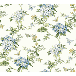 Waverly Cottage Cream, Blue and Green Fawn Hill Wallpaper