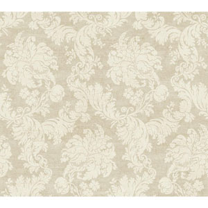 Vintage Luxe Beige and Cream Regent Damask Wallpaper