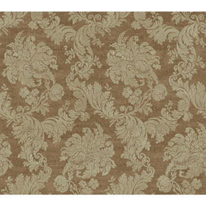 Vintage Luxe Tan and Metallic Regent Damask Wallpaper
