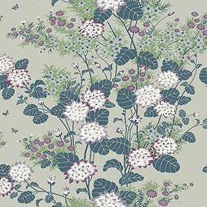 Florence Broadhurst Teal Chinese Floral Wallpaper
