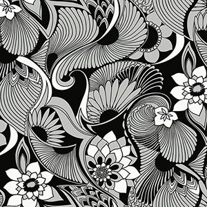 Florence Broadhurst Black Aubrey Wallpaper