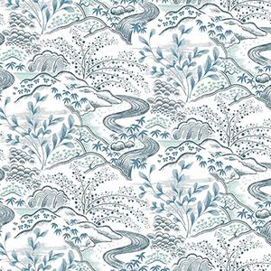 Florence Broadhurst Blue Waterfall Gardens Wallpaper