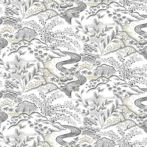 Florence Broadhurst Grey Waterfall Gardens Wallpaper